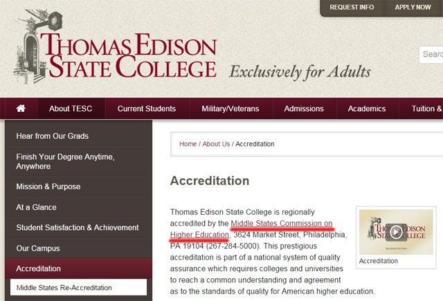Thomas Edison State College accreditation