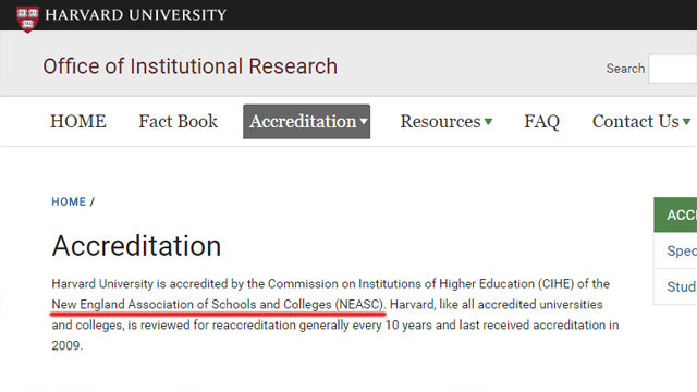 Harvard accreditation