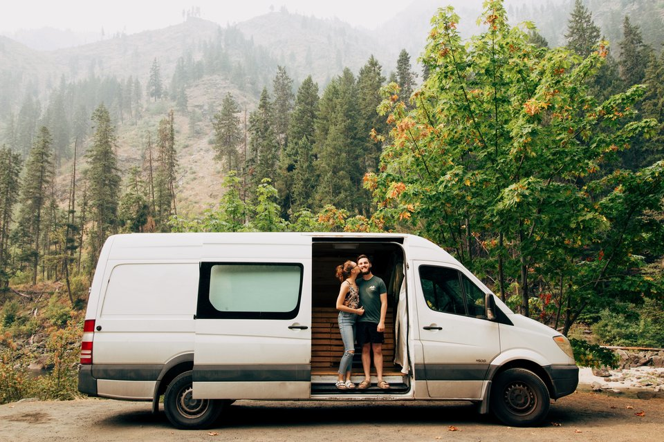 Aubry and Christian in their Home on Wheels