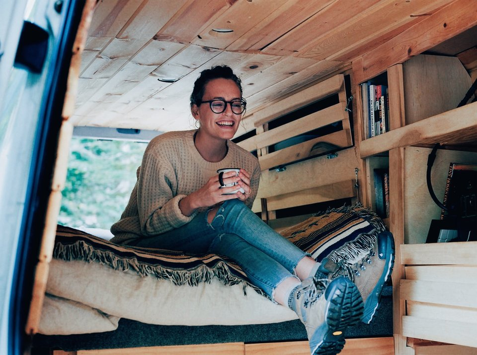 Aubry on her Bed... inside her van... which is her house. (That's pretty cool.)
