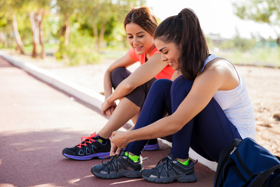 Women preparing to run together